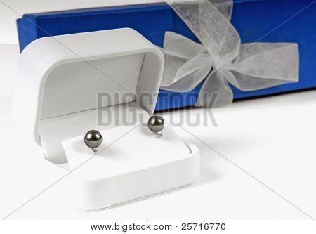 Tahitian Pearl Earrings by Gift Box