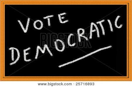 vote democratic written on chalkboard