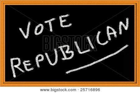 vote republican written on chalkboard