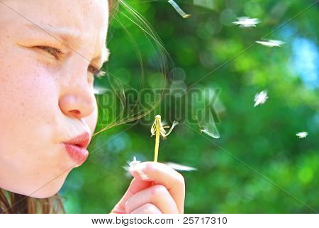 Girl Blowing Dandelion with Flying Seeds