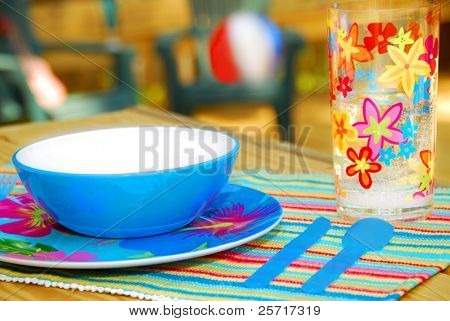 Tropical Place Setting on Deck, Ready for Entertaining