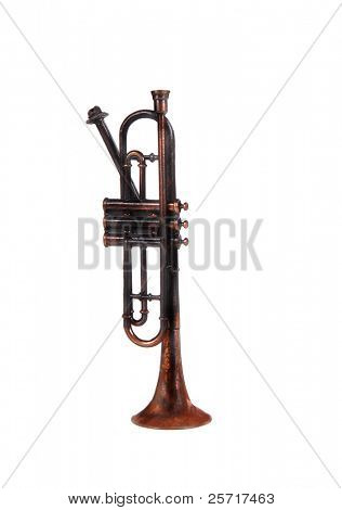 Worn old bugle in isolation