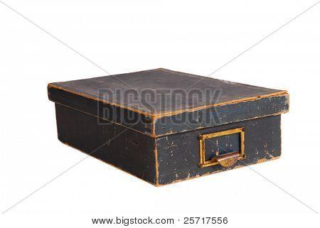 Antigo vintage lembrança caixa com tampa fixada