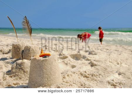 Sand Castles and Children on Beach