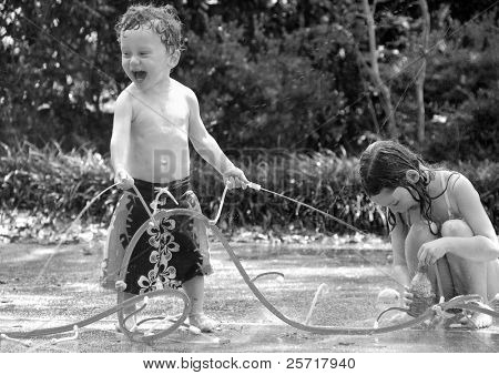 Boy and Girl in Waterplay