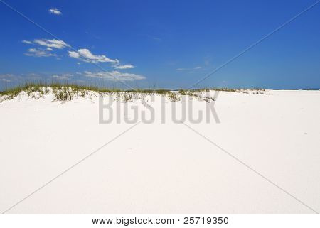 Beautiful white beach sand under blue sky
