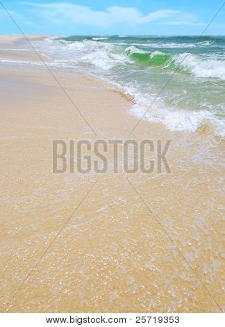 Gorgeous ocean surf at pretty beach