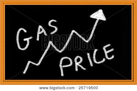 Gas Price with Up Arrow on Chalkboard