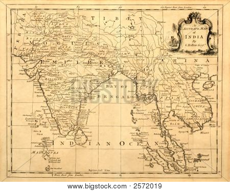 Old Map Of India Printed 1750.
