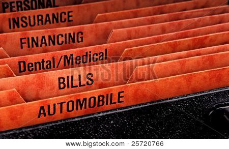 Filing folders for recording expenses featuring automobile slot