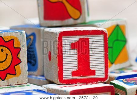 Pile of old children's wooden toy blocks