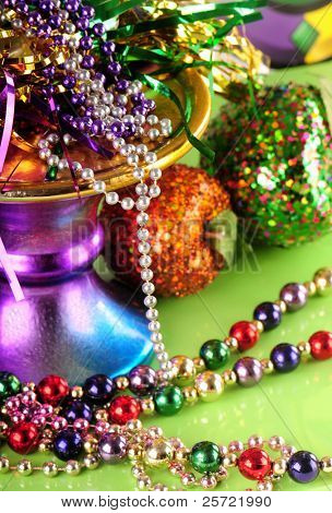 Lots of beads and decorations for mardi gras