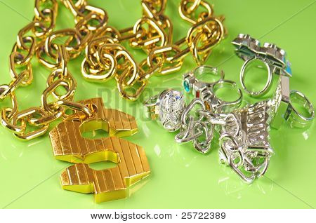 gangster rapper gawdy costume jewelry