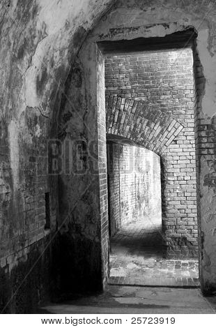 Interior of Fort Pickens military fort, a popular tourist destination in Pensacola, Florida