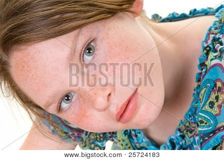 Young girl with pretty freckles