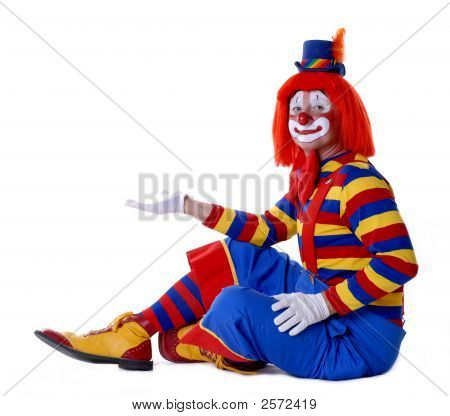 Circus Clown With Open Palm