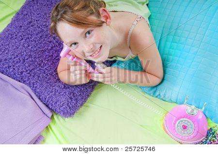 Happy girl on phone