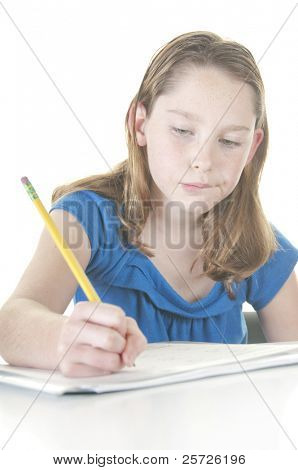 Young student working on assignment