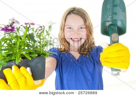 young girl ready to plant