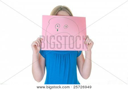 girl hiding behind sad face, part of emotional series