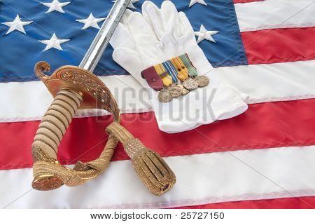 Medeals and uniform peices from World War II veteran