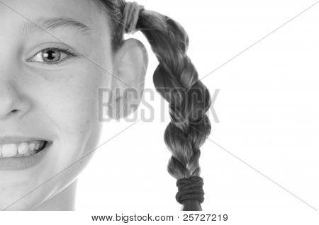 happy girl wearing braids