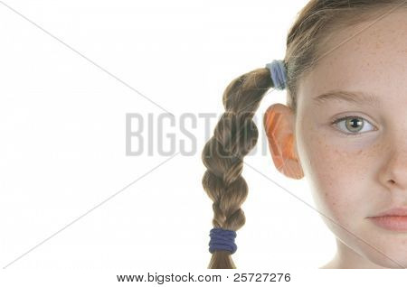 girl serious in braids
