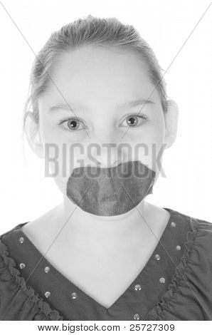 girl with tape on mouth