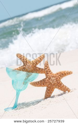 Starfish looking tipsy on beach