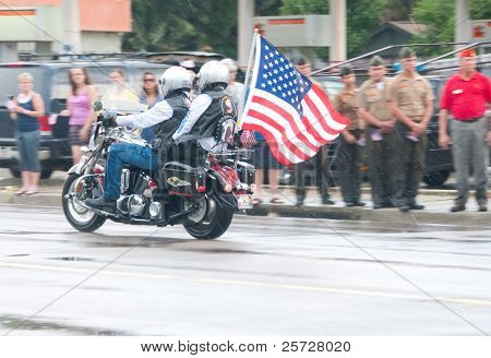 PENSACOLA - AUGUST 24:  Patriot Guard Riders escort the fallen body of 19 year old US Marine Lance Cpl Travis Nelson as he is returned home from Afghanistan to Pensacola, FL on August 24, 2011.