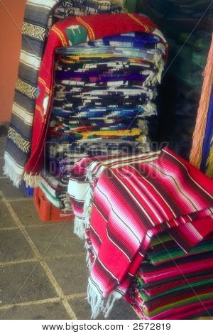 Stacks Of Mexican Blankets