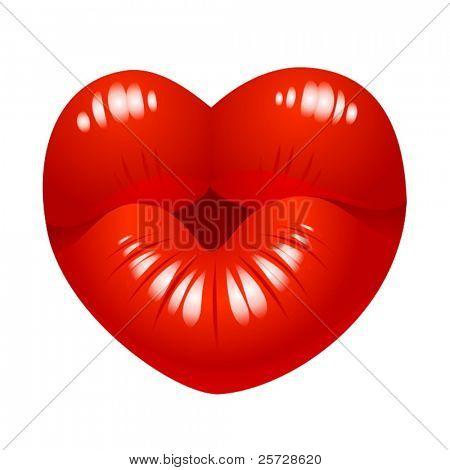 Beso de vector en forma de corazón