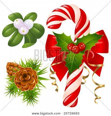 Zuckerstange, Weihnachtsbaum, Mistel und holly