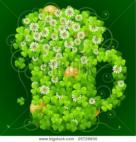 Clover glade in the shape of beer mug
