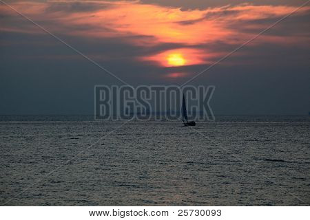A beautiful sailing ship at dusk