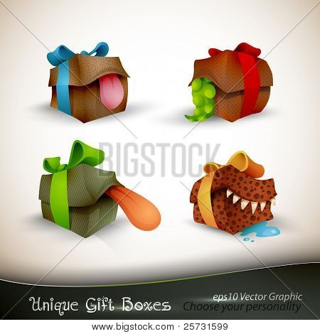 The Precious, The Sticky, The Vicious And Bruce | Christmas Gifts with Personality | EPS10 Vector Set | | Separate Layers Named Accordingly