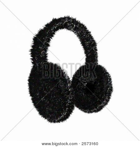 Render Of A Black Furry Winter Earmuffs On A White Background