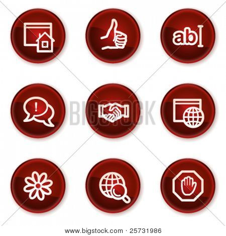 Internet web icons set 1, dark red circle buttons