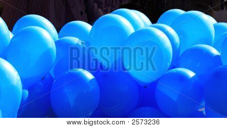 A Lot Of Blue Inflated Ballons