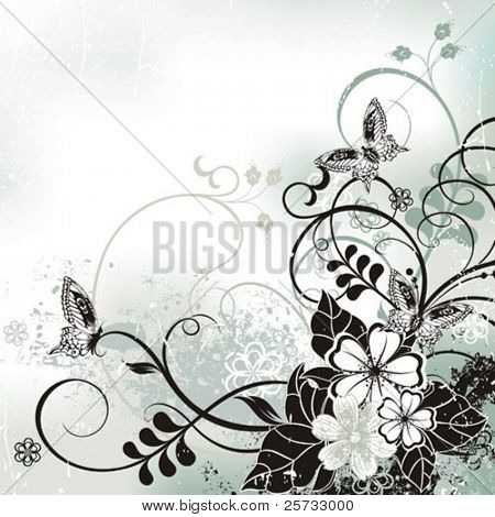 Decorative vector background with a flowers and butterflies