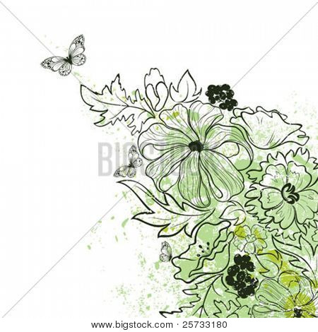Vector background with a flowers and butterflies