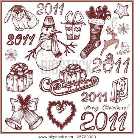 Set of Christmas doodle elements