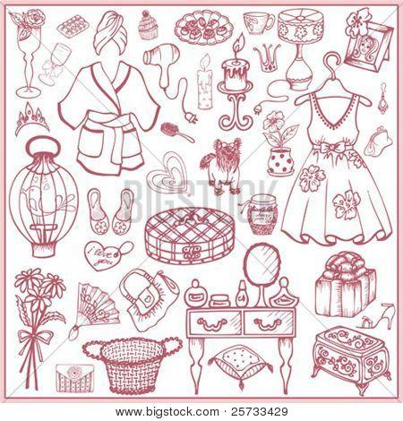 Girl doodle set