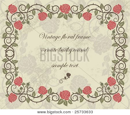 Vintage ornate frame with roses