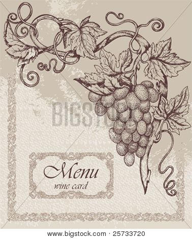 Ornate made old vector background with grapes branch
