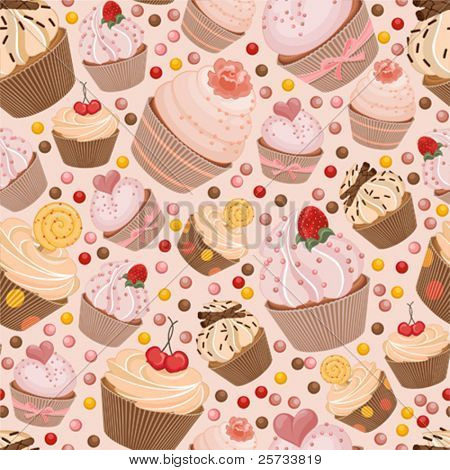 Seamless pattern from celebratory cupcakes