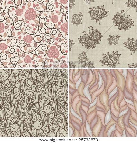 Set of floral retro patterns