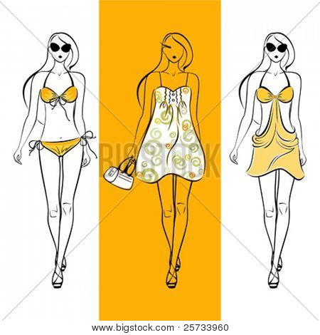 siluetas de chica de colección de verano