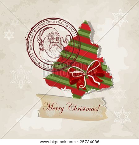 Scrapbook card with a Christmas tree and a stamp with Santa Claus