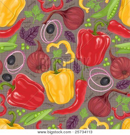 Nahtlose retro Hintergrund aus frischem Gemüse